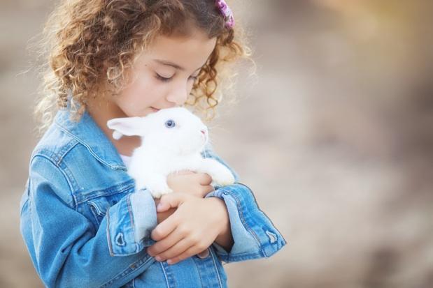 Girl pêtting rabbit